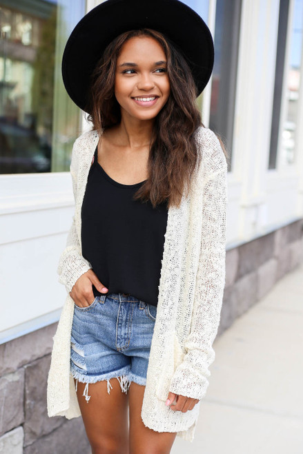 Ivory - Open Knit Cardigan