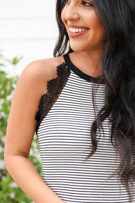 Black - Striped Crochet Peplum Tank Detail View