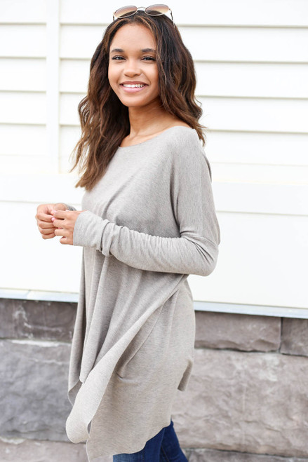 Taupe - Oversized Raw Hem Top Side View