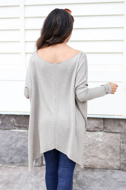 Model wearing Taupe Oversized Raw Hem Top Back View