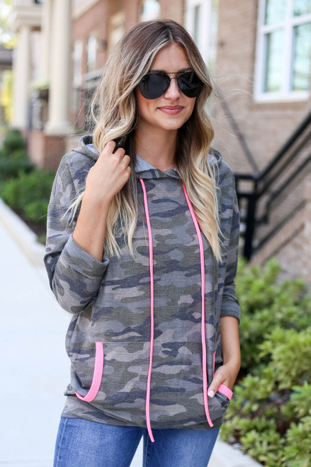Camo - Soft Knit Hoodie with Pink Accents