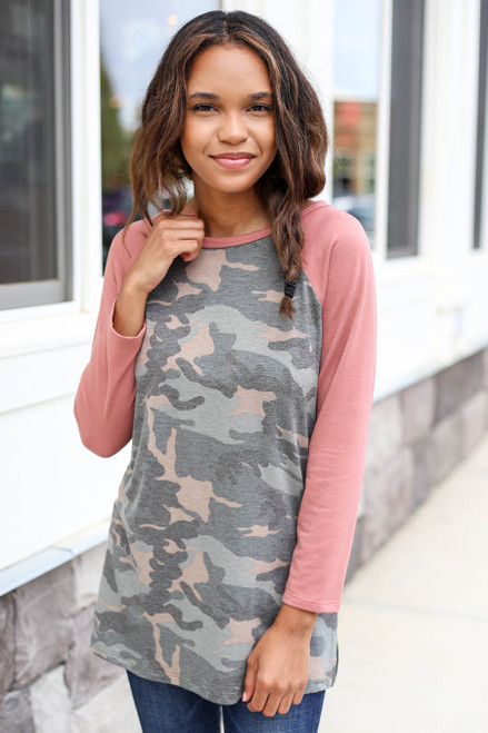 Model wearing Blush and Camo Baseball Tee Front View