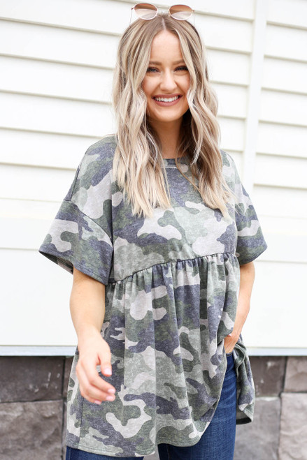Model wearing Olive Camo Babydoll Top Front View