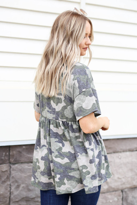 Olive - Camo Babydoll Top Back View