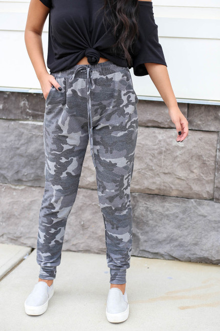 Charcoal - Camo Joggers Detail View