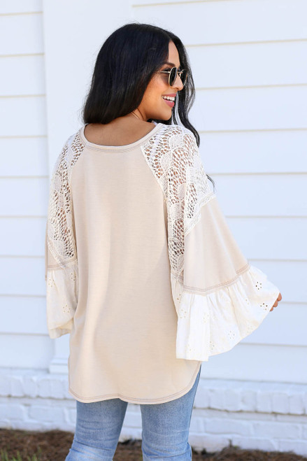 Model wearing Taupe Lace Flutter Sleeve Blouse Back View