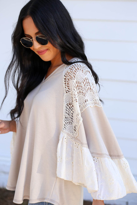 Ivory - Lace Flutter Sleeve Blouse Side View
