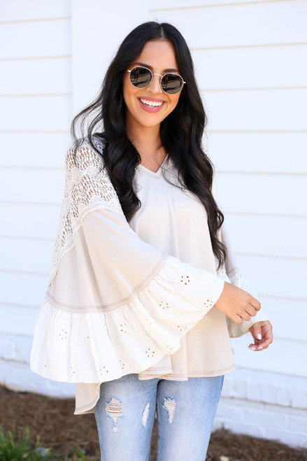 Ivory - Lace Flutter Sleeve Blouse