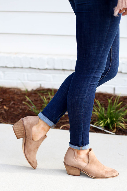 Model wearing Taupe Cutout Ankle Booties