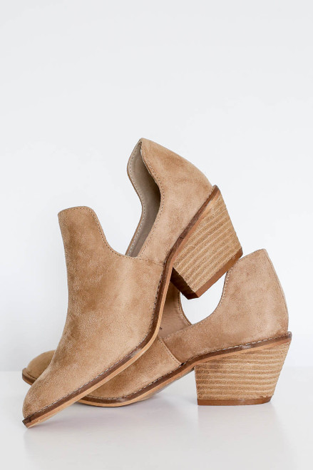 Taupe - Cutout Ankle Booties on Model