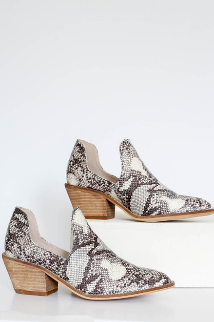 Snake - Snakeskin Cutout Ankle Booties