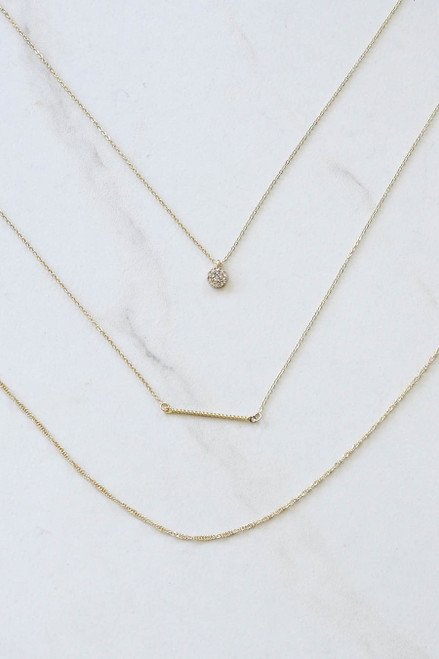 Gold - Rhinestone Layered Bar Necklace Flat Lay