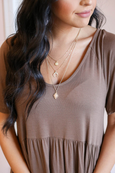 Gold - Tri-Layer Boho Necklace on Model
