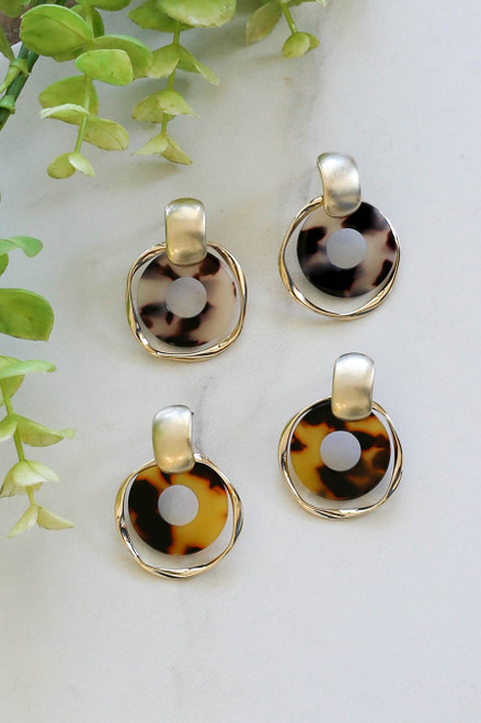 Flat Lay Ivory and Tortoise Statement Earrings