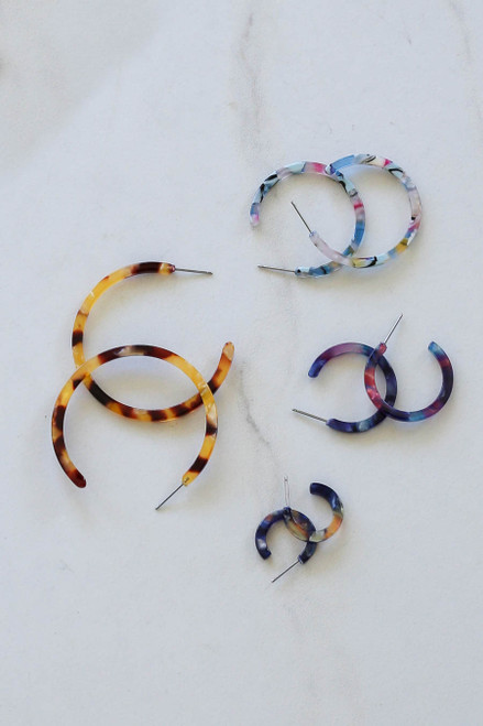 Multi - Multi-Color 4 Piece Acrylic Hoop Earring Set Flat Lay