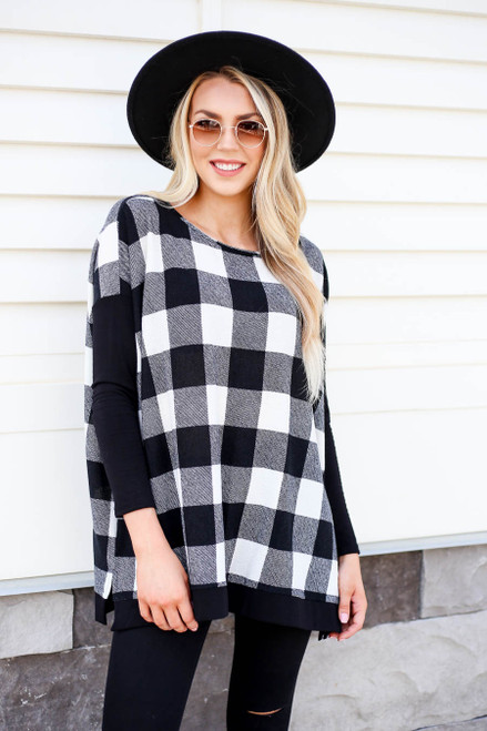 White - and Black Buffalo Plaid Top