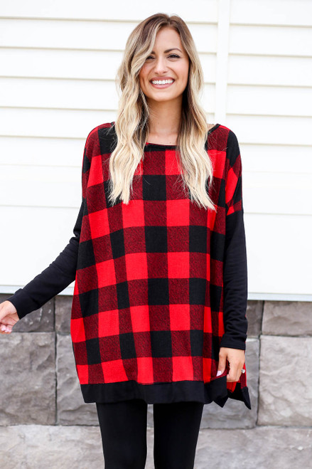 Red - and Black Buffalo Plaid Top