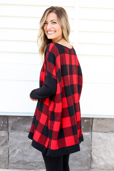 Red - and Black Buffalo Plaid Top Back View