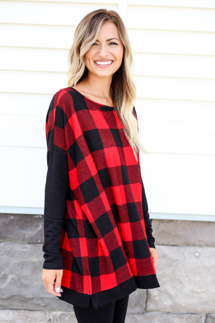 Model wearing Red and Black Buffalo Plaid Top Side View