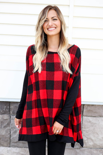 Model wearing Red and Black Buffalo Plaid Top Front View