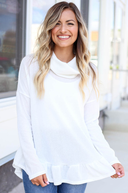 White - Cowl Neck Knit Sweater