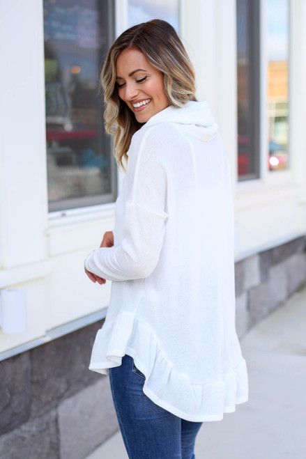 Model wearing White Cowl Neck Knit Sweater Back View