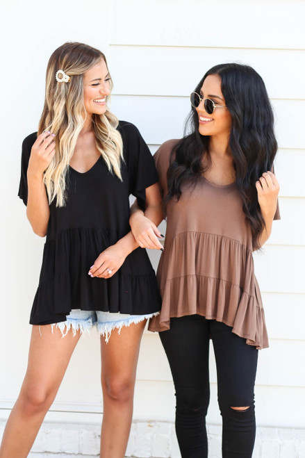 Models wearing Mocha and Black Oversized Tiered Top