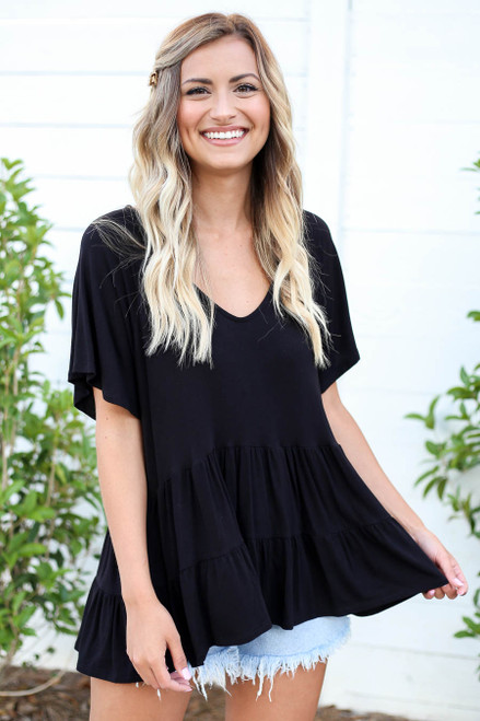 Black - Oversized Tiered Top