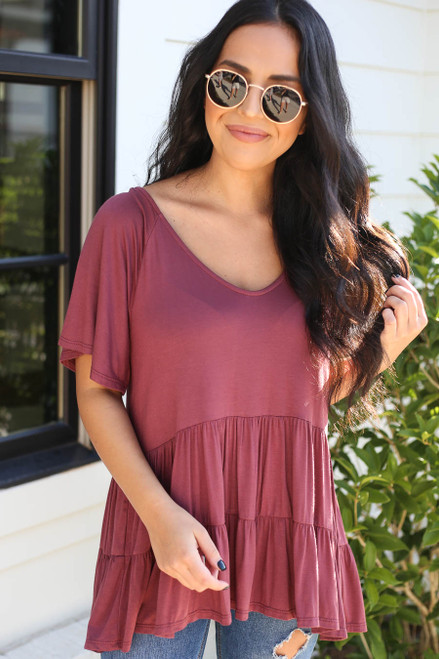 Marsala - Oversized Tiered Top