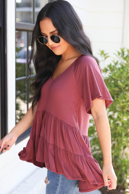 Marsala - Oversized Tiered Top Side View