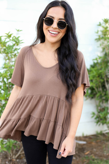 Model wearing Mocha Oversized Tiered Top