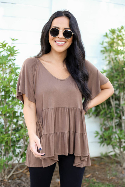 Model wearing Mocha Oversized Tiered Top Front View