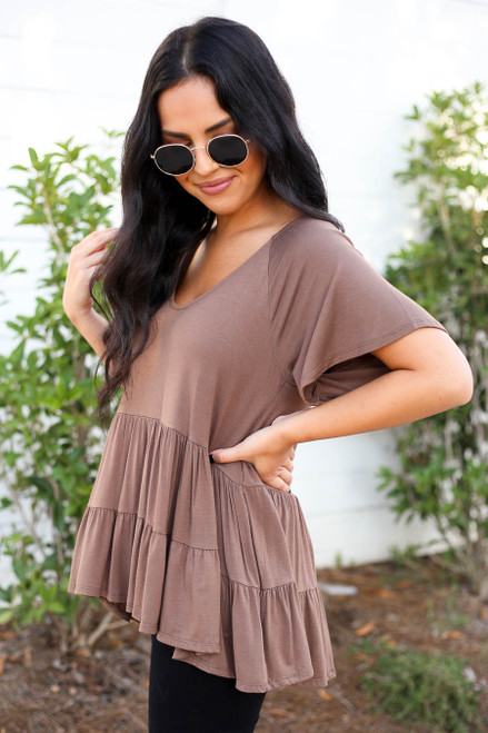 Mocha - Oversized Tiered Top Side View