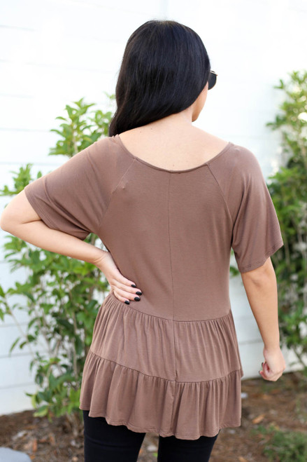 Mocha - Oversized Tiered Top Back View