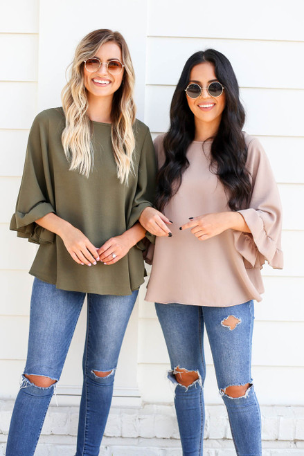 Mocha - and Olive Wide Sleeve Ruffle Top