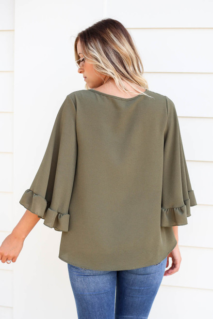 Olive - Wide Sleeve Ruffle Top Back View