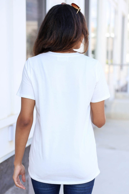 Model wearing Ivory Choose Happy Graphic Tee Back View