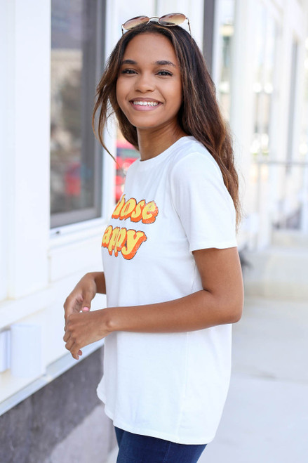 Model wearing Ivory Choose Happy Graphic Tee Side View
