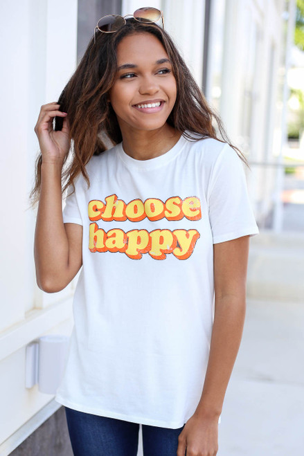 Model wearing Ivory Choose Happy Graphic Tee Front View