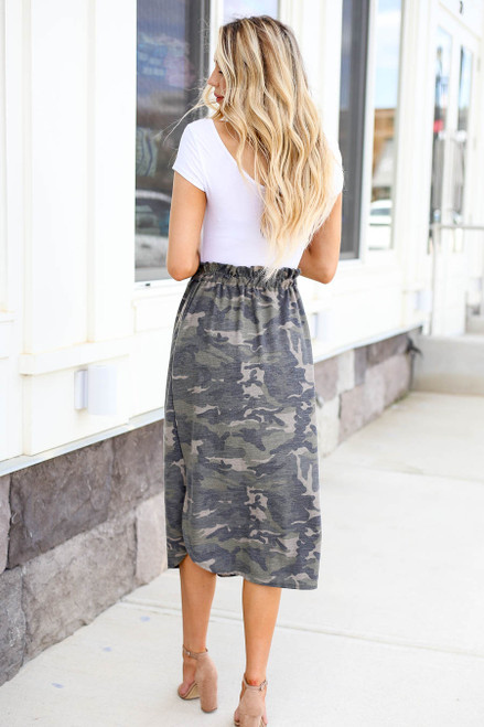 Model wearing Olive Camo Paperbag Waist Midi Skirt Back View
