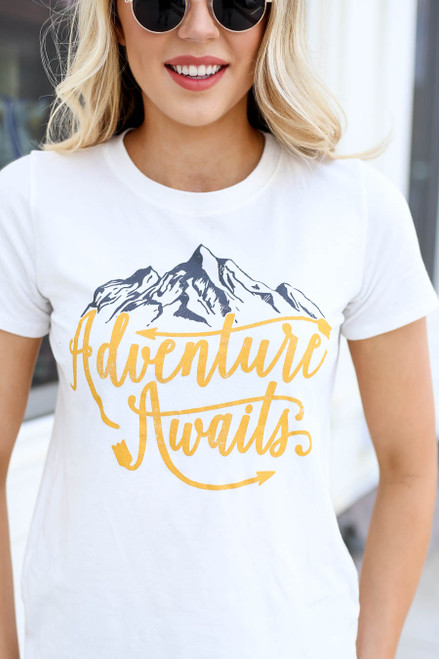 Ivory - Adventure Awaits Graphic Tee Detail View