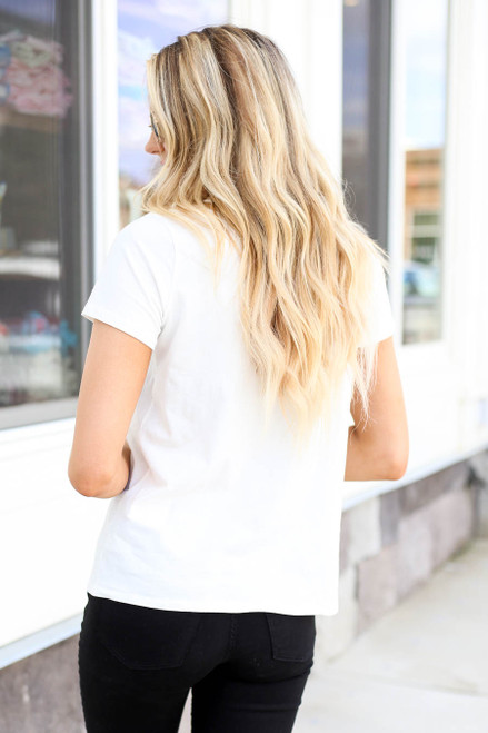 Model wearing White Adventure Awaits Graphic Tee Back View