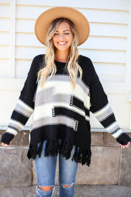 Black - Fringe Chunky Knit Sweater