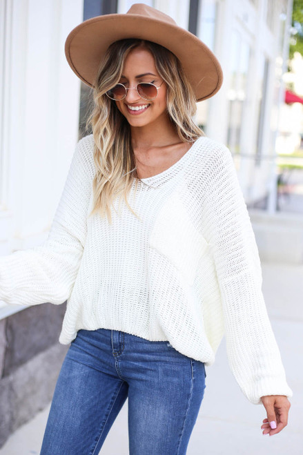 Ivory - V-Neck Cropped Sweater Side View