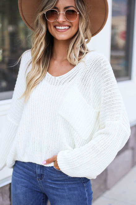Model wearing Ivory V-Neck Cropped Sweater Front View