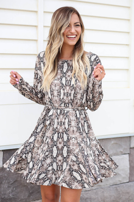 Snake - Snakeskin Long Sleeve Mini Dress