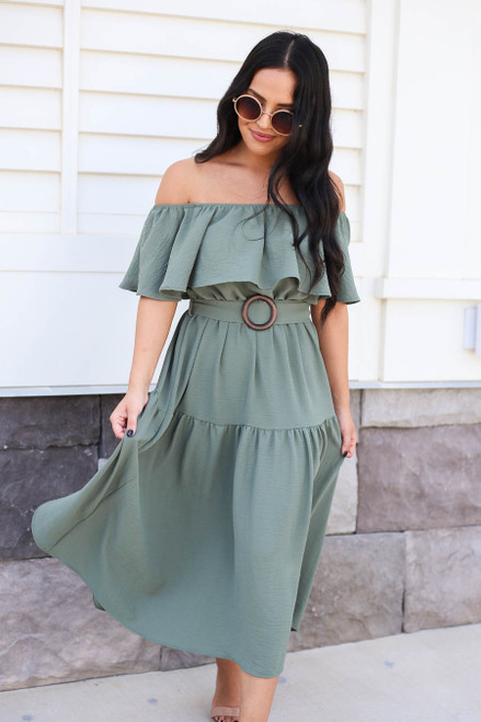 Mint - Off the Shoulder Tiered Midi Dress