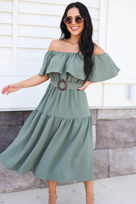 Model wearing Green Off the Shoulder Tiered Midi Dress