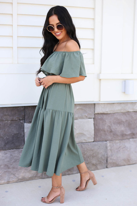 Mint - Off the Shoulder Tiered Midi Dress Side View