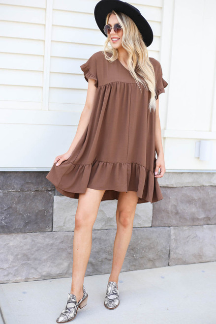Mocha - Ruffle Babydoll Dress Full View